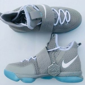 free shipping 1c16d 19d7a Nike · Nike Lebron 14 XIV Mag Marty McFly Gray Blue Shoes